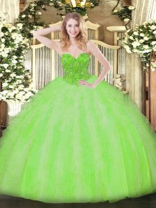 Ball Gowns Beading and Ruffles Quinceanera Gown Lace Up Organza Sleeveless Floor Length