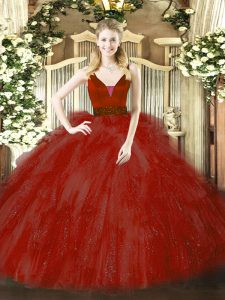 Sexy Wine Red Ball Gowns Beading and Ruffles Ball Gown Prom Dress Zipper Tulle Sleeveless Floor Length