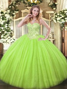 Yellow Green Ball Gowns Sweetheart Sleeveless Tulle and Sequined Floor Length Lace Up Appliques Quinceanera Dresses