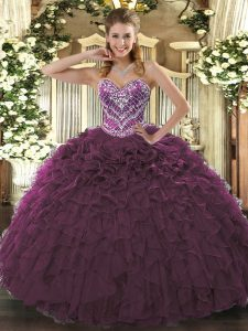 Unique Burgundy Ball Gowns Tulle Sweetheart Sleeveless Beading and Ruffled Layers Floor Length Lace Up Vestidos de Quinceanera