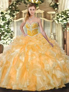 Glorious Sweetheart Sleeveless Quinceanera Dresses Floor Length Beading and Ruffles Orange Organza