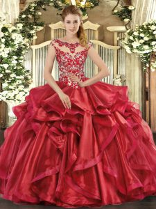 Stylish Red Cap Sleeves Organza Lace Up Quinceanera Gowns for Sweet 16 and Quinceanera