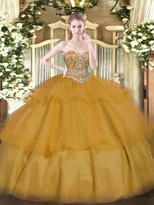 Comfortable Organza Sweetheart Sleeveless Lace Up Beading and Ruffled Layers Ball Gown Prom Dress in Brown