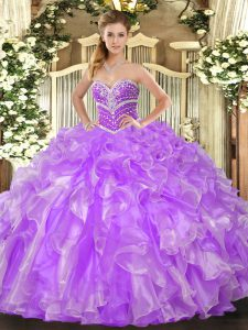 Glamorous Lavender Ball Gowns Beading and Ruffles Sweet 16 Dress Lace Up Organza Sleeveless Floor Length