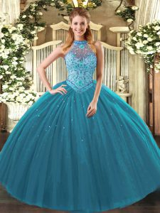 Teal Lace Up Quince Ball Gowns Beading and Embroidery Sleeveless Floor Length