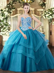 Modern Teal Tulle Lace Up 15 Quinceanera Dress Sleeveless Floor Length Beading and Ruffled Layers