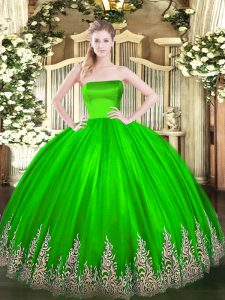 Sleeveless Floor Length Appliques Zipper Quinceanera Dresses with