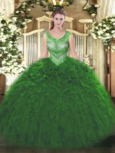 Stunning Floor Length Ball Gowns Sleeveless Green Quinceanera Dress Lace Up