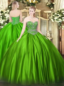 Dynamic Sleeveless Beading Floor Length Quince Ball Gowns