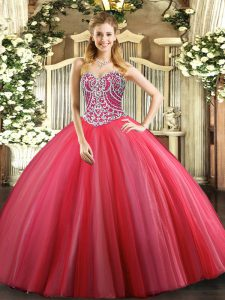 Sleeveless Tulle Floor Length Lace Up Ball Gown Prom Dress in Coral Red with Beading