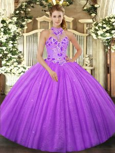 Lavender Lace Up Ball Gown Prom Dress Beading Sleeveless Floor Length