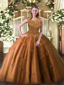 Cheap Rust Red Sleeveless Floor Length Beading and Appliques Zipper Quinceanera Dresses