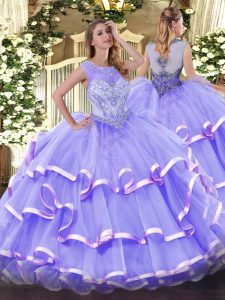 Captivating Lavender Scoop Neckline Beading and Ruffled Layers 15th Birthday Dress Sleeveless Zipper
