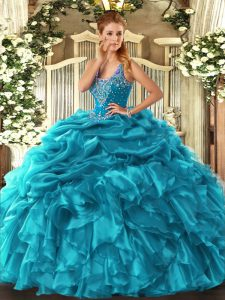 Ideal Teal Lace Up Straps Beading and Ruffles and Pick Ups Sweet 16 Dresses Organza Sleeveless