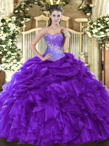 Purple Ball Gowns Sweetheart Sleeveless Organza Floor Length Lace Up Beading and Ruffles and Pick Ups Sweet 16 Dress