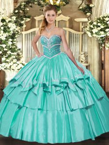 Decent Apple Green Sleeveless Floor Length Beading and Ruffled Layers Lace Up Sweet 16 Dresses