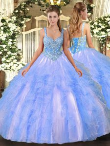 Graceful Floor Length Light Blue 15 Quinceanera Dress Tulle Sleeveless Beading and Ruffles
