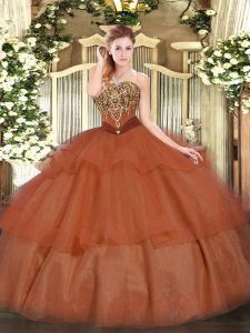 Ideal Rust Red Strapless Lace Up Beading and Ruffled Layers Ball Gown Prom Dress Sleeveless