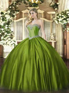 Enchanting Satin Sweetheart Sleeveless Lace Up Beading Sweet 16 Quinceanera Dress in Olive Green