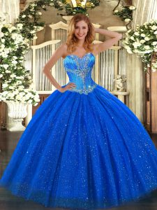 Ball Gowns Vestidos de Quinceanera Royal Blue Sweetheart Tulle and Sequined Sleeveless Floor Length Lace Up