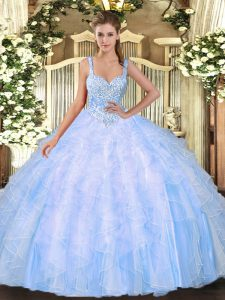 Free and Easy Light Blue Tulle Lace Up Ball Gown Prom Dress Sleeveless Floor Length Beading