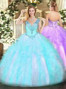 Floor Length Aqua Blue Quinceanera Dress V-neck Sleeveless Lace Up