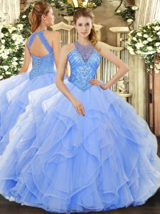 Organza High-neck Sleeveless Lace Up Beading and Ruffles 15th Birthday Dress in Light Blue