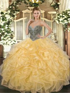 Best Selling Floor Length Lace Up 15 Quinceanera Dress Gold for Military Ball and Sweet 16 and Quinceanera with Beading and Ruffles