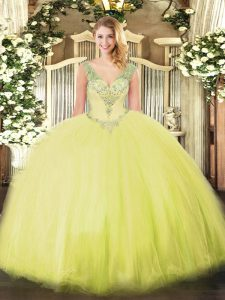 Yellow Green Tulle Lace Up V-neck Sleeveless Floor Length Quince Ball Gowns Beading