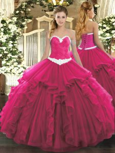 Exquisite Hot Pink Ball Gowns Sweetheart Sleeveless Organza Floor Length Lace Up Appliques and Ruffles Ball Gown Prom Dress