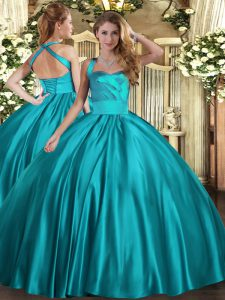 Teal Ball Gowns Ruching 15th Birthday Dress Lace Up Satin Sleeveless Floor Length