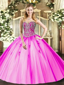 Lilac Sleeveless Tulle Lace Up Sweet 16 Dress for Military Ball and Sweet 16 and Quinceanera