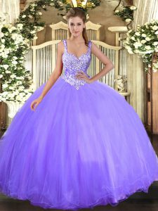 Floor Length Lace Up Ball Gown Prom Dress Lavender for Military Ball and Sweet 16 and Quinceanera with Beading