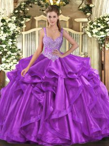 Spectacular Beading and Ruffles Sweet 16 Dresses Eggplant Purple Lace Up Sleeveless Floor Length