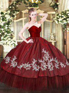 Admirable Wine Red Organza and Taffeta Zipper 15th Birthday Dress Sleeveless Floor Length Embroidery