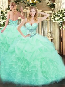 Lovely Sweetheart Sleeveless Organza Quince Ball Gowns Beading and Ruffles and Pick Ups Lace Up
