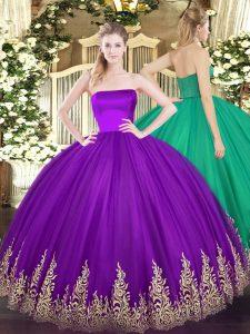 Purple Strapless Neckline Appliques Quinceanera Gown Sleeveless Zipper