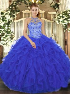 Traditional Royal Blue Sleeveless Floor Length Beading and Embroidery and Ruffles Lace Up 15th Birthday Dress