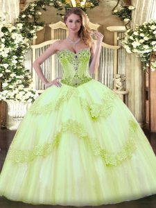 Custom Fit Sleeveless Tulle Lace Up Ball Gown Prom Dress in Yellow Green with Beading
