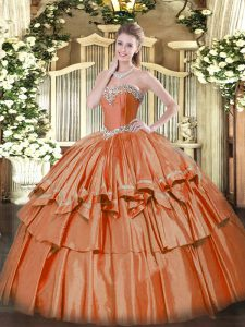 Low Price Rust Red Organza Lace Up Sweetheart Sleeveless Floor Length Quinceanera Gowns Beading and Ruffled Layers