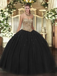Fantastic Floor Length Black Quinceanera Dress Sweetheart Sleeveless Lace Up