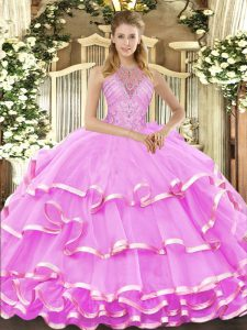 Admirable Beading and Ruffled Layers 15th Birthday Dress Lilac Lace Up Sleeveless Floor Length
