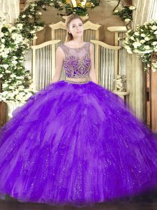 Scoop Sleeveless Lace Up Sweet 16 Dress Lavender Tulle
