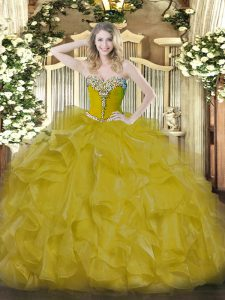 Fabulous Gold Lace Up Quinceanera Dress Beading Sleeveless Floor Length