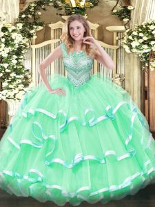 Discount Ball Gowns Quinceanera Dress Apple Green Scoop Tulle Sleeveless Floor Length Lace Up