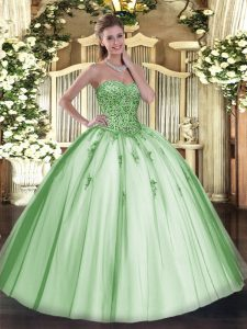 Apple Green Sleeveless Floor Length Beading and Appliques Lace Up Sweet 16 Quinceanera Dress