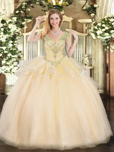 Champagne Ball Gowns Beading 15 Quinceanera Dress Lace Up Tulle Sleeveless Floor Length