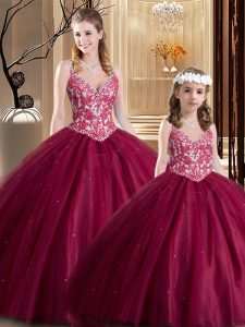 Custom Fit Sleeveless Lace Up Floor Length Lace Sweet 16 Dresses