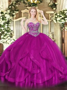 Fuchsia Lace Up 15 Quinceanera Dress Beading and Ruffles Sleeveless Floor Length