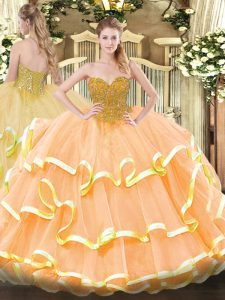 Most Popular Peach Sleeveless Organza Lace Up Ball Gown Prom Dress for Military Ball and Sweet 16 and Quinceanera